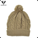 Knit кабеля зимы теплый Bobble шлем лыжи