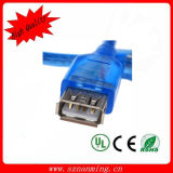 투명한 파랑 2.0 USB 여성 USB 케이블에 남성