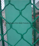 A cerca de revestimento verde do campo de básquete da ligação Chain do PVC, engranzamento de fio do furo do diamante ostenta a cerca da corte