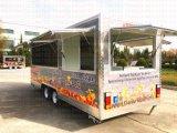 移動式食糧ヴァンを食事する最新のクレープのGelatoのカートのガスのグリルのステーキ