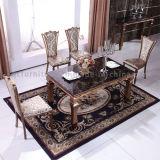 椅子が付いているローズのほとんどの普及したブラシをかけられた金鋼鉄ダイニングテーブル