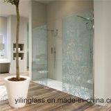 Ausgeglichenes Badezimmer-Glas mit Farbe gedrucktem Muster