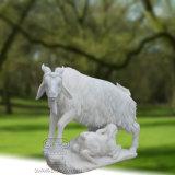 Gran estatua de mármol Sculture, escultura animal de la cabra