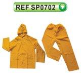 PVC/Polyester étanche Workwear manteau de pluie (SP0701)