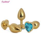 Tamanho grande de aço inoxidável em forma de coração de ouro jóias de Cristal Anal Plugue Elétrico