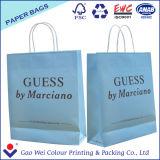 Sacchetti di acquisto bianchi stampati dei sacchi di carta del Kraft con la maniglia