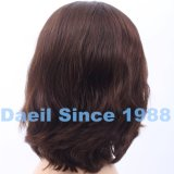 Peluca natural corta del pelo ondulado