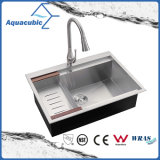 Bassin de cuisine fabriqué à la main d'acier inoxydable de Cupc Aquacubic (ACS3022A1T)