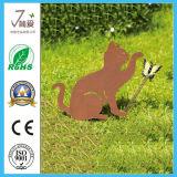 庭の装飾のためのハンドメイド動物猫の金属