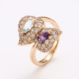 Xuping Fashion Luxury Women Zircon Inneres-Shaped 18k Gold-Plated Jewelry Ring 12440