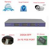 24 commutateurs gauches de 10/100Mbps Poe avec 2 ports uplinks de fibre de Giga ont managé facultatif (TS2824F)