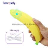 여성 진동 마사지 기계를 위한 노란 바나나 시뮬레이션 진동기 성 장난감을 비용을 부과하는 USB