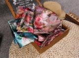 Senhora de seda impressa cor Pashmina Viscoso Lenço da flor
