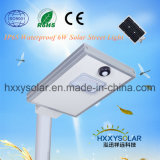 IP65 6500K luz de rua LED Solar integrado 6W