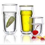 Cuvette de thé en verre fabriquée à la main en verre en verre de bière de cuvette de double mur