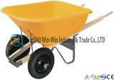 Wheelbarrow poli do pé 8 cúbico com rodas duplas