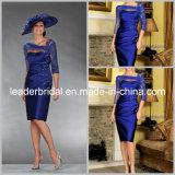 Vestido de noite de prata roxo azul M16518 da matriz do laço formal curto das luvas do costume 3/4 do vestido