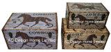 S/3 декоративные предметы антиквариата Vintage лошадь дизайн прямоугольные печати фиолетового цвета кожи/MDF деревянные окна соединительных линий для хранения