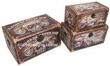 S/3 de Decoratieve Antieke Uitstekende Doos van de Boomstam van de Opslag van de Druk Pu Leather/MDF van het Ontwerp van de Motor Rechthoekige Houten
