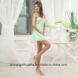 Бусинковый спай хлопок A-Line Prom Gowns шифон милая горловины платье Ппзу Openboot
