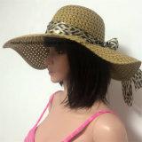100% соломенной шляпе, Мода Стиль Floppy с лентой украшения
