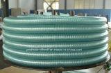 Шланг сада воды весны стального провода PVC пластмассы усиленный всасыванием зеленый