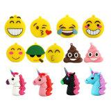 Azionamento di gomma personalizzato dell'istantaneo del USB del fumetto del PVC di sorriso del fronte dell'unicorno a forma di di Emoji