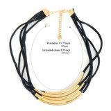 Collane rotonde del Choker del tubo del filo di cuoio nero per le donne