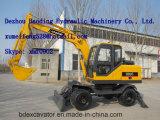 China amarillo 0.3m3 Bucketsmall ruedas New excavadora con brazo largo