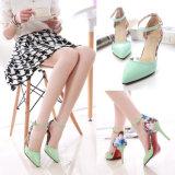 Новые башмаки High-Heeled указывает цвет сандалии корейской версии мелкой женской обуви преднатяжитель плечевой лямки ремня мелких женских один обувь