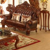 セットされる木製の革ソファーが付いている居間の家具(529)