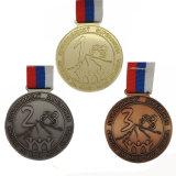 Medaille van de Sport van de douane 3D Matte Gouden Lopende met Sleutelkoorden
