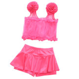 Mädchen-Spitze-aufgeteilte Fußleisten-der reinen Farben-Blumen-Badeanzug-Kinder 3-12 Jahre alte Badebekleidungs-