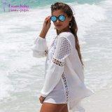 여자의 V 목 긴 소매 백색 튜닉 셔츠