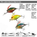 Attrait en plastique de flottement de pêche de vairon dur personnalisé par Pr-Ls015A/015b/015c
