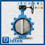 Didtek asentada de goma suave desplazamiento Triple Wafer Válvula de mariposa con engranaje