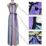 2018 heiße Verkaufs-Form-bunte Streifen-Frauen-reizvolle lange Kleider