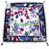 As mulheres Fashion Square Sarjado Xale lenço impresso de algodão com pendão