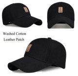 カスタム帽子の高品質6のパネルの革パッチによって曲げられるバイザーの黒の野球帽