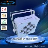 12PCS 6in1 RGBWA+UV 건전지 DMX 무선 편평한 호리호리한 DJ는 결혼식 빛을%s 빛을 홀을 파로 끝낸다
