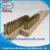 Escova de fio de aço dourada para remover a oxidação