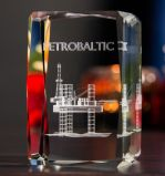Cubo de cristal con Clipper Concer con grabado láser 3D