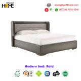 Французская самомоднейшая кровать ткани кожи твердой древесины 2017 для спальни (HC-B09)