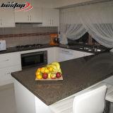 Tamanho feito sob encomenda L bancadas projetadas cozinha de quartzo da pedra de quartzo do preto da forma