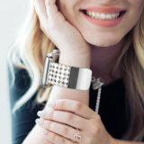 Luxo Premium 22mm em aço inoxidável Bracelete Blinky Alça para Apple