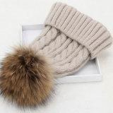 Venda por grosso de fábrica senhoras de peles de Inverno Chapéus Beanie POM POM