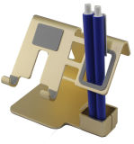 Suporte da tabela do telefone móvel da cor do ouro da venda por atacado do produto novo para o telefone e a pena espertos