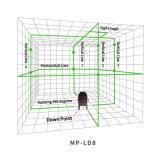 조사를 위한 회전하는 Laser 수준을 수평하게 해 각자가 8개의 선에 의하여 녹색이 된다
