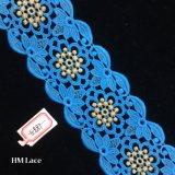 sfera di memoria dell'oro di 7cm con il tessuto nuziale Hme887 del merletto dell'abito di cerimonia nuziale del fiore blu
