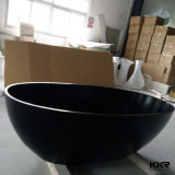 Baignoire ovale debout libre de pierre mate noire de résine de Kingkonree